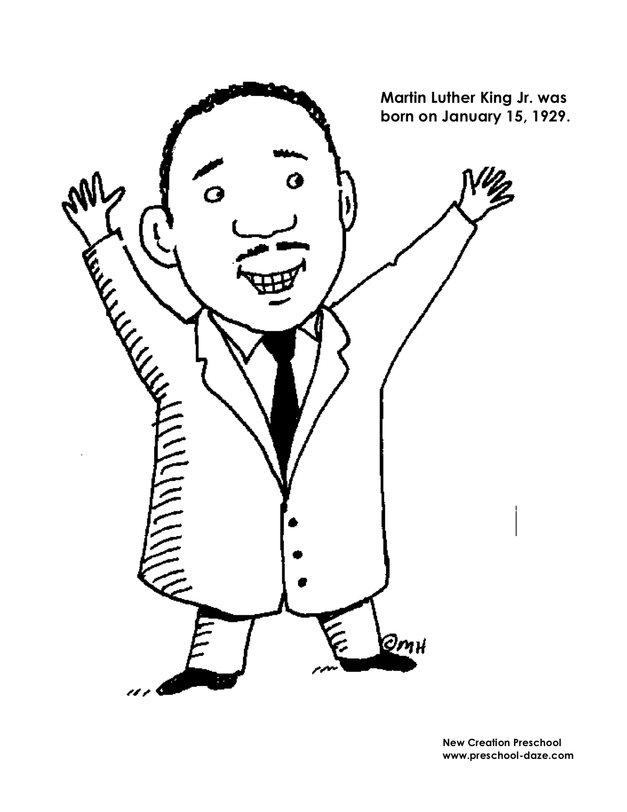 M is for martin luther king jr printables new creation for Martin luther coloring pages